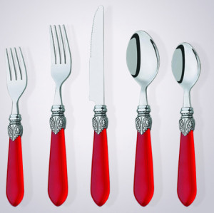 CS2002 acrylic handle cutlery set for promotion silverware