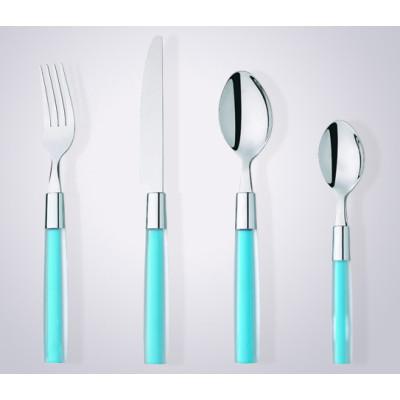 Plastic Handle hand Polish Stainless Steel Flatware Set