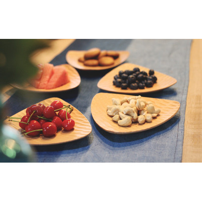 New Products Zakka Style Triangle Natural Wooden Turtle Shell Texture Fruits and Nuts Serving Plate