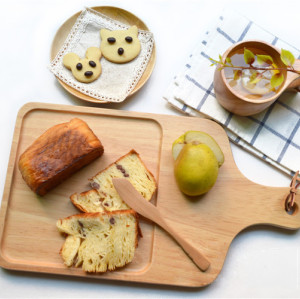 Food Safety Rubber Wooden Bread Board With Strap