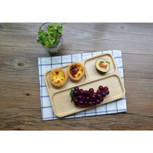 New Products Zakka Style Natural Wooden Unique Texture Baby Serving Plate Food Pate