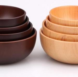 high quality eco firendly bamboo bowl wooden round bowl salad bowl