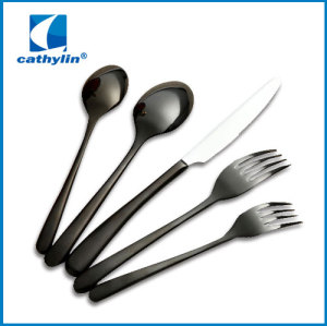 WZ001 Stainless steel Titanium black cutlery for restaurant and hotel