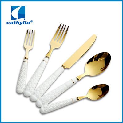 Rose gold metal ceramic handle cutlery