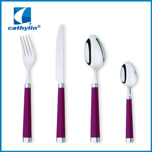 New Design Stainless Steel Cultery Sets Plastic Handle Fork Spoon Knife