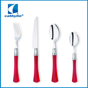 Plastic cultery set stainless steel flatware plastic handle spoon and fork