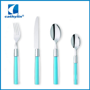 wholesale stainless steel cultery set plastic handle
