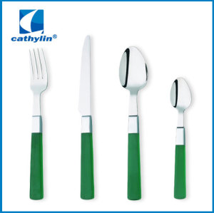 stainless cutlery; cheaper wooden color plastic handle cutlery