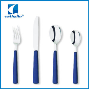 Cultery Set Plastic Handle Spoon And Fork With Hanging Flatware Set