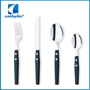 Plastic handle cutlery set with black handle