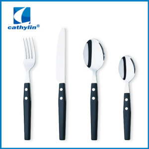 Plastic handle cutlery set with black handle