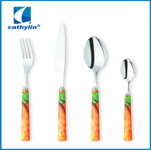 New Design exclusive stainless steel color box camping cutlery set
