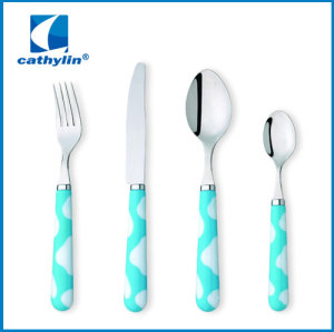 Low MOQ stainless steel plastic handle cutlery