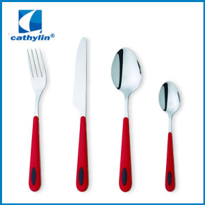 colored plastic handle stainless flatware