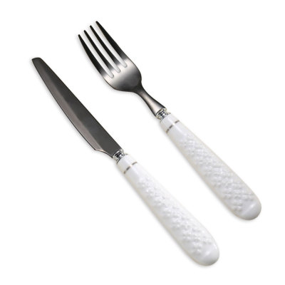 Porcelain Handle Black Stainless Steel Fork And Knife