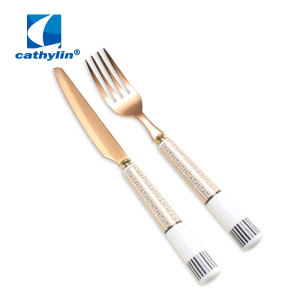 Ceramic Handle Small Golden Cutlery Set