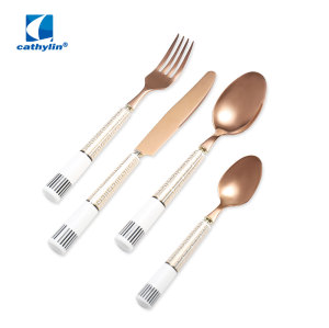 Rose Golden Stainless Steel Cutlery Set With Ceramic Handle Customized Deisgn