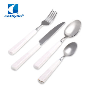 White Handle Ceramic Cutlery Set