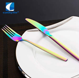ST0034 Rainbow PVD coating 18/10 stainless steel cutlery colored flatware sets