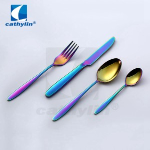 ST0093 Environment friendly stainless steel rainbow cutlery PVD coating wedding flatware set
