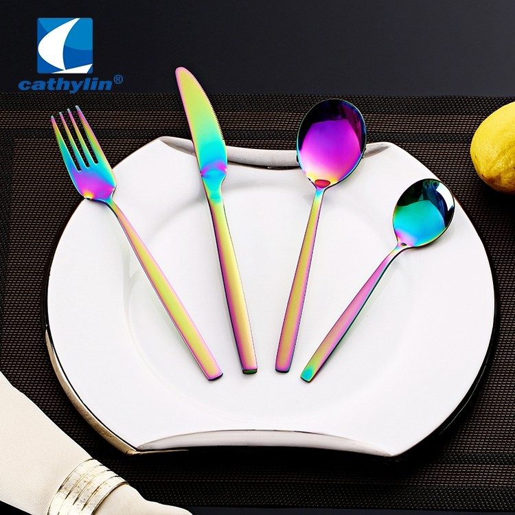 rainbow pvd coating cutlery set
