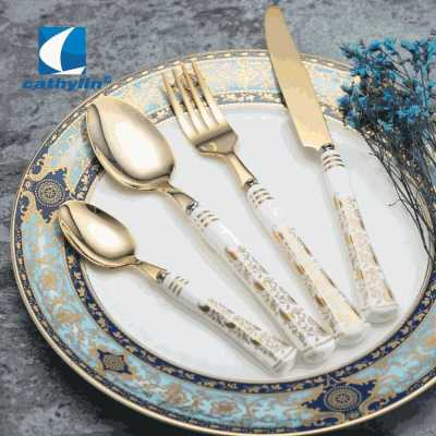 Dinnerware set Luxury Bone China flatware with ceramic handle gold cutlery sets for knife spoon