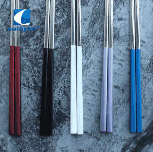 Bulk luxury korean japanese hotel restaurant reusable titanium stainless steel silver chopsticks
