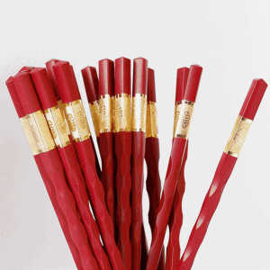 Chinese reusable red gold plated alloy fiberglass pps glass fiber chopsticks wedding gift favors