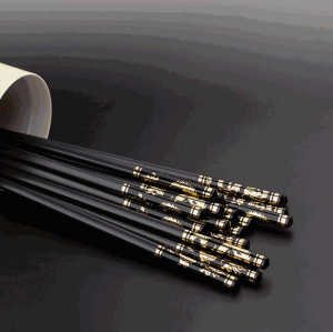 Personalised reusable black gold dragon plated standard size alloy fiberglass pps chopsticks sushi