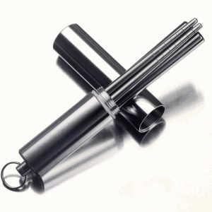 Retractable metal titanium solid compact outdoor chopsticks with aluminium case