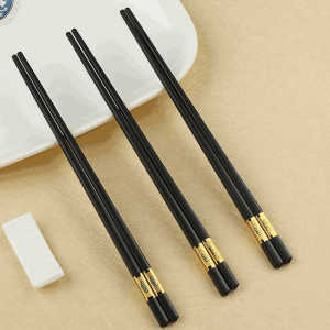 Chinese reusable black gold plated standard size alloy fiberglass chopsticks for restaurant sushi
