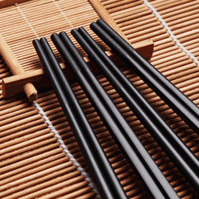 Oem food grade fancy custom logo printed recycled black plastic melamine chopsticks safe