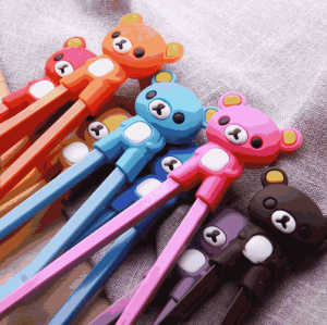 Cartoon bear reusable silicone baby children beginners learn training hinged chopsticks