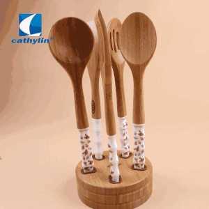 Popular Design Ceramic Handle Cooking Utensil Wooden Soup Ladle Kitchen Tool Sets