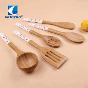 Popular Design Ceramic Handle Cooking Utensil Wooden Soup Ladle Kitchen Tool Sets
