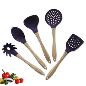 Eco purple silicone home cuisine utensil tool set bamboo wooden holder kitchen accessories set