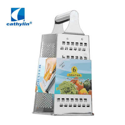 In stock 9 inches 6 side stainless steel kitchen grater slicer multi food metal grater