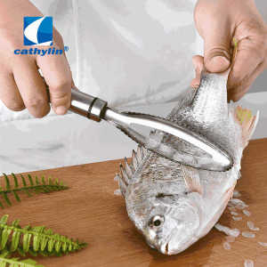 Scale Scraper Stainless Steel Handle Fish Scales Scraping Remover Peeler Scaler Cleaner Kitchen Tool