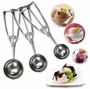 Manufacturers press and release meat ball stainless steel spoon ice cream scoop with easy trigger