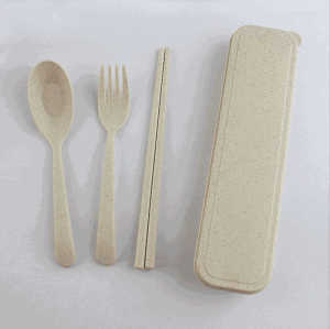Camping travel reusable flatware fork chopsticks spoon tableware portable wheat straw cutlery set