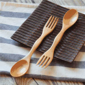 Wholesale bulk SGS certification custom logo bamboo fiber wooden fork spoon spork kit set