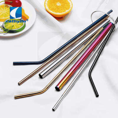 Hot Styles Stainless Steel Colorful Metal Straw, Bent Drinking Straw