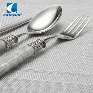 Hotel acrylic handle marble stainless steel cutlery set, cheap flatware 18/10