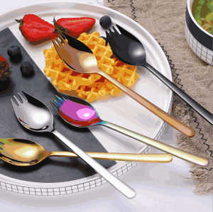 Wholesale customized reusable camping colorful 304 stainless steel metal titanium spork