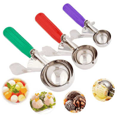 Large press and release cookies meat ball metal stainless steel ice cream scoop with trigger