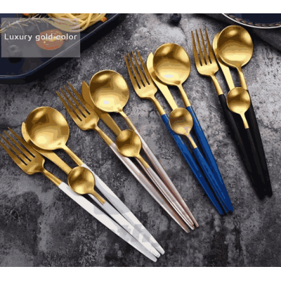 18/10 Stainless Steel Gold Flatware With Spoons Forks Knives For Wedding Hotel Restaurant Gift