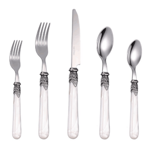 20-Piece Acrylic Handle Stainless Steel Knife Spoon Fork Flatware For Wedding Restaurant Hotel