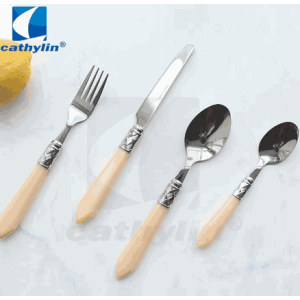 Special Desgin Acrylic Flatware Stainless Steel Cutlery Set With Plastic Handle For Gift Events