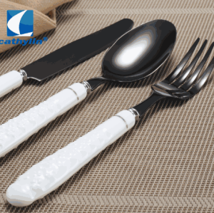 White Point Porcelain Handle Black Flatware 18/10 Stainless Steel Cutlery Sets With Ceramic Handle