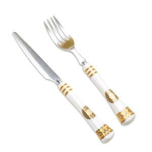 2pcs fruit set stainless steel ceramic handle a knife and fork fruit flatware